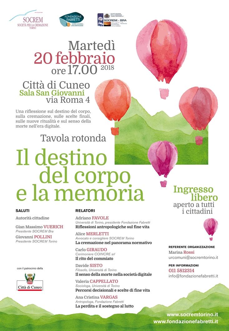 """""""Il destino del corpo e la memoria"""" - 20 febbraio 2018 - Cuneo"""